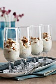 Creamy desserts with gingerbread in glasses