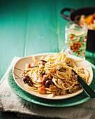 Spaghetti alla puttanesca (spaghetti with spicy tomato sauce, Italy)