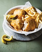 Battered fish fillet with fries
