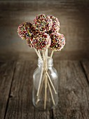 Chocolate cake pops decorated with colourful sugar sprinkles