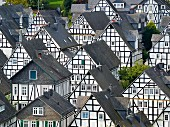 Lots of half-timbered houses in Freudenberg, North Rhine Westphalia
