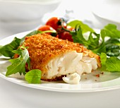 Breaded haddock with salad