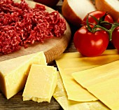 Ingredients for lasagne with minced meat