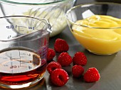 Ingredients for sherry trifle with raspberries