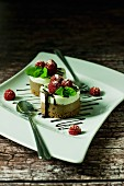 Chocolate and vanilla tartlet with raspberries