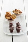 Chocolate dips, biscuits and nuts