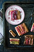 Rhubarb tart with almond cream (seen from above)