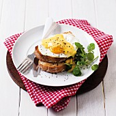 Toast with fried egg and Hollandaise sauce