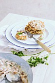 Buckwheat pancakes with a creamy mushroom sauce