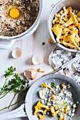 Zutaten für Buchweizenpfannkuchen mit sahniger Pilzsauce