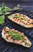 Grilled chicken saltimbocca