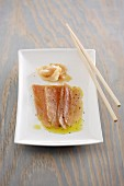 Raw tuna fish with pickled ginger