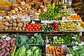 Fresh fruit and vegetables on a market stand (Funchal, Madeira, Portugal, Europe)