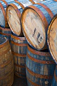 Wooden barrels at Port Askaig, Islay, Argyll and Bute, Scotland, United Kingdom, Europe