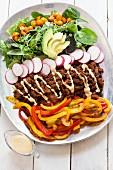 Paleo taco salad with a dressing