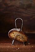 Getoastete Brotscheibe im Toasthalter
