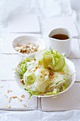 Raw fennel and apple with flaked almonds and vinaigrette