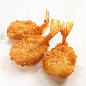 Three breaded fried prawns