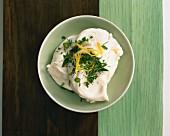 A quark-yoghurt dip with fresh herbs and lemon zest