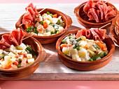 Organic vegetable salad with raw ham