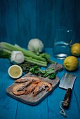 Prawns, lemons, fennel, parsley, thyme, celery and lamb's lettuce
