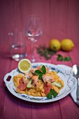 Tagliatelle al peperoncino with prawns, avocado, pink grapefruit, lemons, parsley and thyme