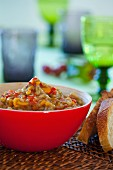 Creamy chanterelle mushroom risotto with peppers