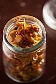 A jar of homemade almond and pumpkin seed caramel