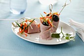 Ham rolls with pickled sweet-and-sour vegetables and olives