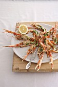 Langoustines with herb sauce