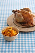 Roast chicken with mashed pears and pumpkin