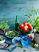 Tomato plant, basil, oregano, green beans