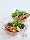 Bean fritters with harissa