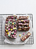 Chocolate fridge cake decorated with colourful chocolate beans