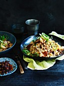 Chilli fried rice with Chinese roast duck and lychees