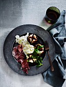Figs with mozzarella, proscuitto and vincotto