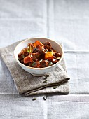 Beef goulash with pumpkin, mushrooms and pumpkin seeds