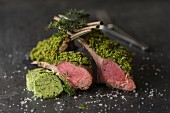 Milk-fed rack of lamb with a herb crust and herb butter