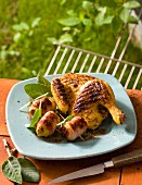 Grilled chicken with bacon and banana rolls