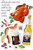 An arrangement of roast chicken, sausage, a bottle of beer and a glass of beer (illustration)