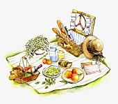 A picnic on a picnic blanket (illustration)