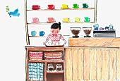 Barista in Coffee-Shop (Illustration)