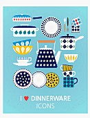 Various illustrations of kitchen utensils on a blue background (illustration)