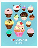 Various illustrations of cupcakes against a blue background (illustration)