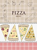 A pizza menu illustrated with pizza slices, ingredients and the word Pizza