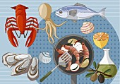 An arrangement of fish and seafood (illustration)