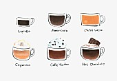 Six different types of coffee (illustration)