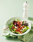 Crispy ham and feta cheese salad