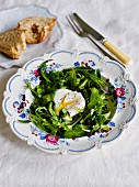 Rocket salad with poached egg