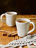 Hot tea with cinnamon